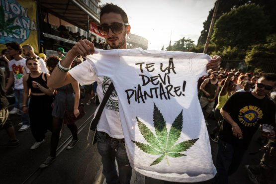 ROME, ITALY - 2014/05/10: Demonstrator holds a t-shirt painted with marijuana leaves during the Global Marijuana March in Rome to ask for the legalization of marijuana on Saturday. Thousands of people marched downtown in Rome during the Global Marijuana March, an annual rally held at different locations across the planet, demanding the legalization of marijuana and changes in drug policies. The Global Marijuana March (GMM) also goes by the name of the Worldwide Marijuana March (WMM) or Million Marijuana March (MMM). (Photo by Giuseppe Ciccia/Pacific Press/LightRocket via Getty Images)